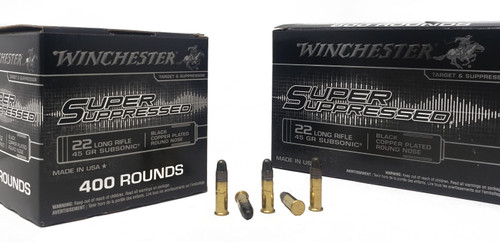 Winchester Super Suppressed Ammunition - 22 Long Rifle - 45 Grain Black Copper Plated Round Nose - 400 Rounds