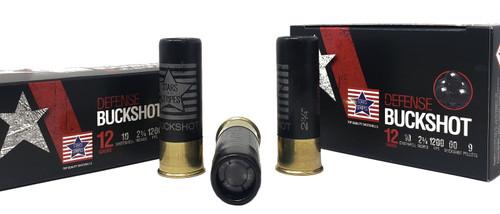 """Stars & Stripes Buckshot Ammunition - 12 Gauge - 2 3/4"""" - 00 Buck - 9 Pellets - 10 Rounds"""