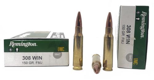 Remington UMC Ammunition - 308 Winchester - 150 Grain Full Metal Jacket - 20 Rounds - Brass Case