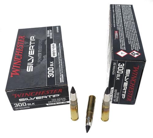Winchester Silver Tip Ammunition - 300 AAC Blackout - 150 Grain Silver Tip - 20 Rounds - Brass Case
