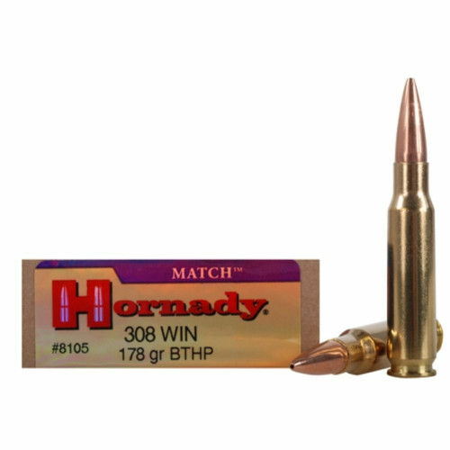 Hornady Match Ammunition - 308 Winchester - 178 Grain Boat Tail Hollow Point - 20 Rounds