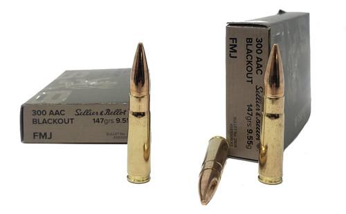 Sellier & Bellot Ammunition - 300 AAC Blackout - 147 Grain Full Metal Jacket - 20 Rounds - Brass Case