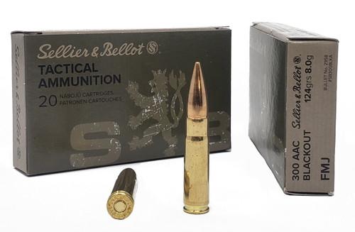 Sellier & Bellot Ammunition - 300 AAC Blackout - 124 Grain Full Metal Jacket - 20 Rounds - Brass Case