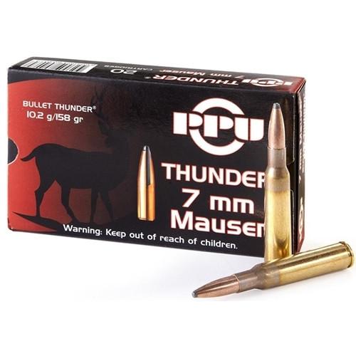 Prvi Partizan Thunder Ammunition - 7 MM Mauser - 158 Grain Soft Point - 20 Rounds - Brass Case