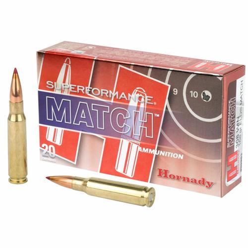 Hornady Superformance Match Ammunition - 308 Winchester - 168 Grain ELD Match - 20 Rounds - Brass Case