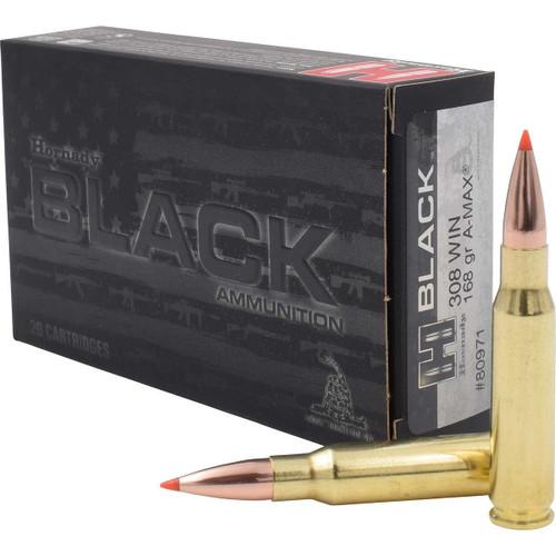 Hornady Black Ammunition - 308 Winchester - 168 Grain A-Max - 20 Rounds - Brass Case