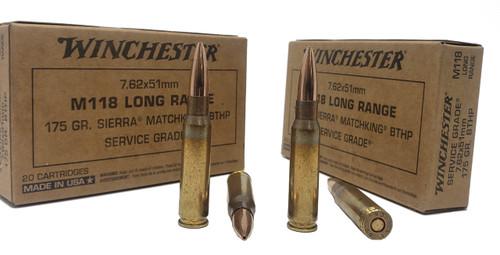 Winchester Service Grade Ammunition - 7.62x51 MM M118 Long Range - 175 Grain Seirra MatchKing BTHP - 20 Rounds - Brass Case