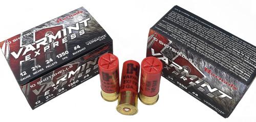 """Hornady Varmint Express Ammunition - 12 Gauge - 2 3/4"""" - #4 Buckshot - 24 Pellets - 10 Rounds"""