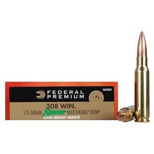 Federal Gold Metal - 308 Win Match - 175 Grain Sierra MatchKing Boat Tail Hollow Point - 20 Rounds - Brass Case