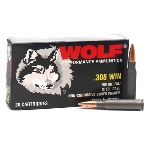 Wolf Performance Ammunition - 308 Winchester - 150 Grain Full Metal Jacket  - 20 Rounds - Steel Case