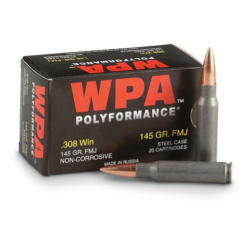 Wolf Performance Ammunition - 308 Winchester - 145 Grain Full Metal Jacket - 20 Rounds - Steel Case