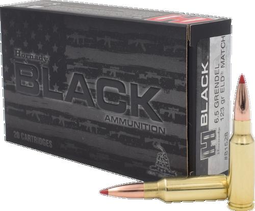 Hornady BLACK Ammunition - 6.5 MM Grendel - 123 Grain ELD Match - 20 Rounds - Brass Case