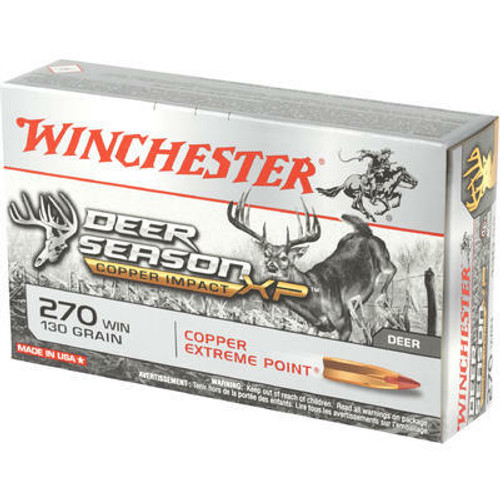 Winchester Deer Season Ammunition - 270 Winchester - 130 Grain Copper Extreme Point - 20 Rounds  - Brass Case