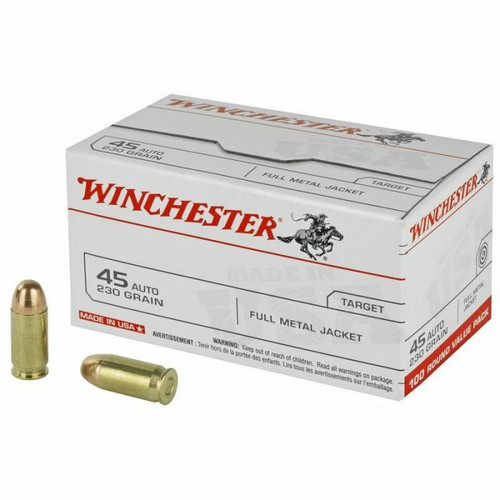Winchester Ammunition - 45 Auto - 230 Grain Full Metal Jacket - 50 Rounds W/ Free Ammo Can