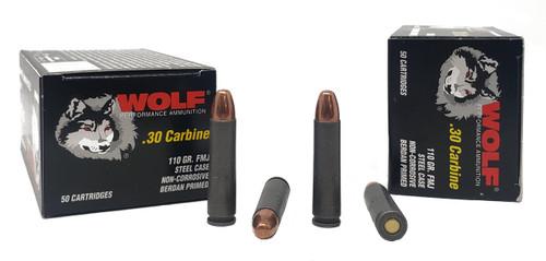 Wolf Performance Ammunition - 30 Carbine - 110 Grain Full Metal Jacket - 50 Rounds