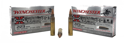 Winchester Super-X Ammunition - 223 Remington - 55 Grain Boat Tail Hollow Point - 20 Rounds Brass Case