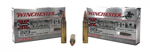 Winchester Super-X Ammunition - 223 Remington - 55 Grain Boat Tail Hollow Point - 500 Rounds - Brass Case
