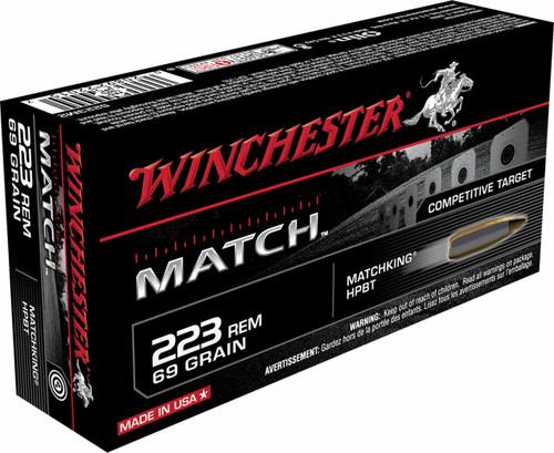 Winchester Match Ammunition - 223 Rem - 69 Grain Matchking Hollow Point - 20 Rounds - Brass Case