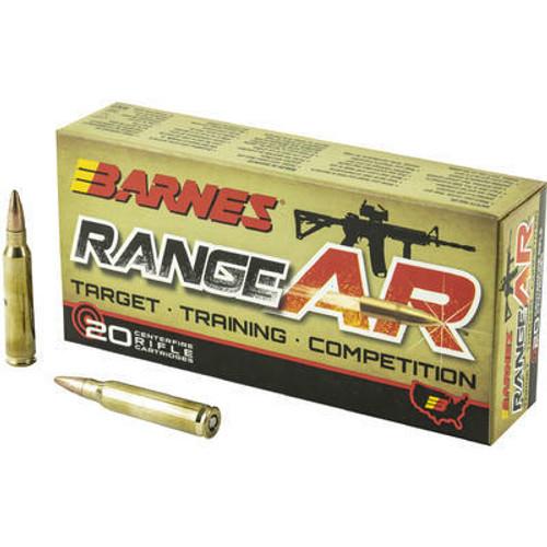 Barnes Ammunition - 5.56x45 MM - 52 Grain Open Tip  Lead Free - 20 Rounds - Brass Case