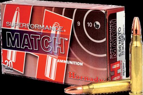 Hornady SuperFormance Ammunition - 5.56x45 NATO - 75 Grain Boat Tail Hollow Point - 20 Rounds - Brass Case