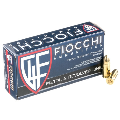 Fiocchi Ammunition 9mm 115 Grain Full Metal Jacket - 1000 Rounds - CASE