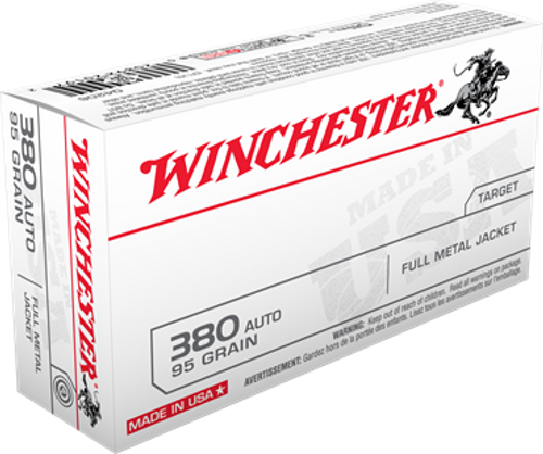 Winchester Ammunition - 380 ACP - 95 Grain Full Metal Jacket - 50 Rounds - Brass Case
