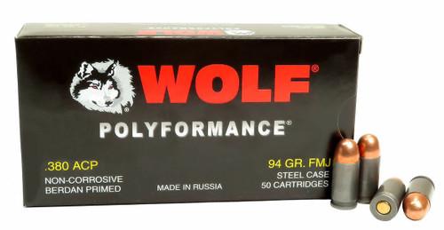 Wolf Performance Ammunition - 380 ACP - 94 Grain Full Metal Jacket - 50 Rounds - Steel Case