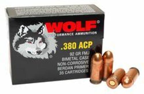 Wolf Performance Ammunition - 380 Auto - 92 Grain Full Metal Jacket - 35 Rounds - Steel Case