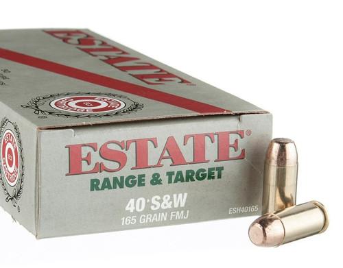 Estate Range & Target Ammunition - 40 S&W - 165 Grain Full Metal Jacket - 50 Rounds - Brass Case