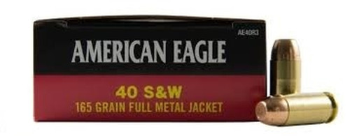 Federal American Eagle Ammunition - 40 S&W - 165 Grain Full Metal Jacket - 50 Rounds - Brass Case
