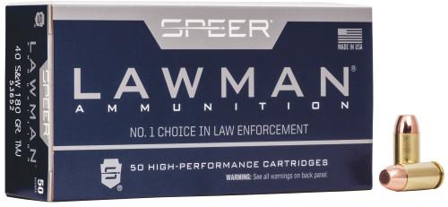 Speer Lawman Ammunition - 40 S&W - 180 Grain Full Metal Jacket - 50 Rounds - Brass Case