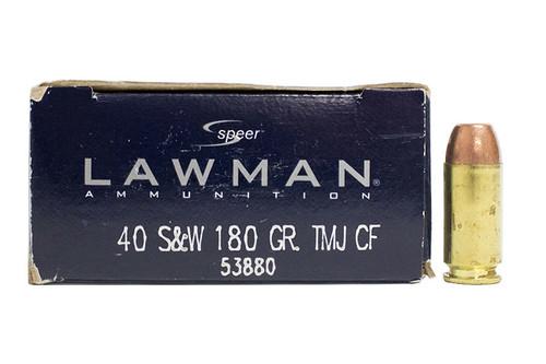 Speer Lawman Clean Fire Ammunition - 40 S&W - 180 Grain Full Metal Jacket - 50 Rounds - Brass Case