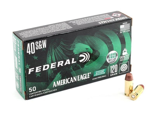 Federal American Eagle Ammunition - 40 S&W - 120 Grain Lead Free Ball - 50 Rounds - Brass Case