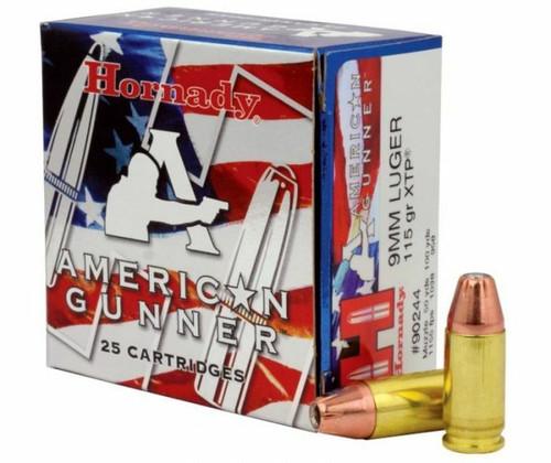 Hornady American Gunner Ammunition - 9 MM Luger - 115 Grain XTP Hollow Point - 25 Rounds - Brass Case