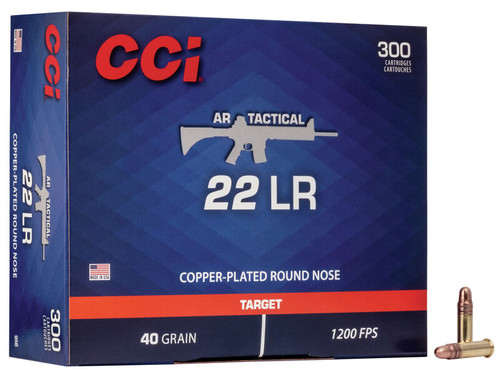 CCI AR Tactical Ammunition - 22 Long Rifle - 40 Grain Copper Plated Round Nose - 300 Rounds - Brass Case