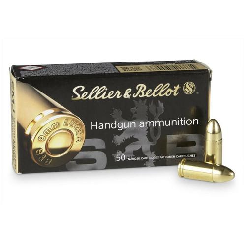 Sellier & Bellot Ammunition - 9 MM Luger - 115 Grain Full Metal Jacket - 50 Rounds - Brass Case