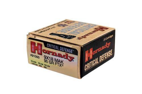 Hornady Critical Defense Ammunition -  9x18 MM Makarov - 95 Grain FTX - 25 Rounds - Brass Case
