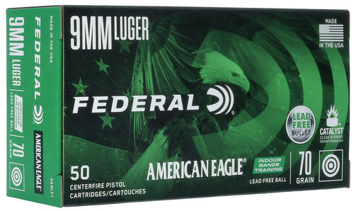 Federal American Eagle Ammunition - 9 MM Luger - 70 Grain Lead Free Ball - 50 Rounds - Brass Case