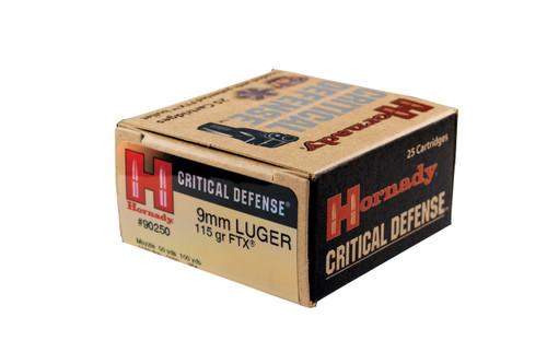 Hornady Critical Defense Ammunition - 9mm Luger 115 Grain FTX - 25 Rounds - Brass Case
