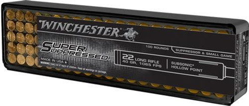 Winchester Super Suppressed Ammunition - 22 Long Rifle - 40 Grain Subsonic Hollow Point - 100 Rounds