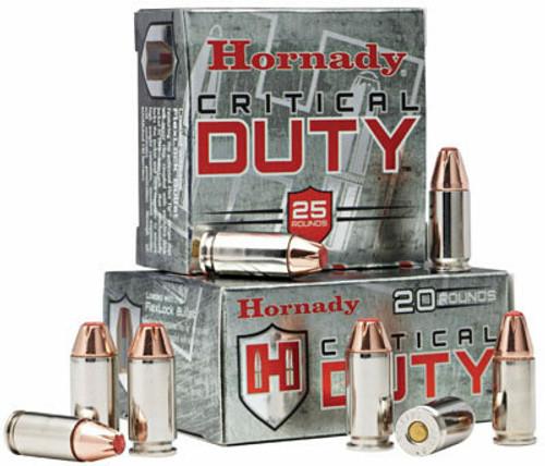 Hornady Critical Duty Ammunition - 9 MM Luger - 135 Grain +P Flex Tip - 25 Rounds - Brass Case