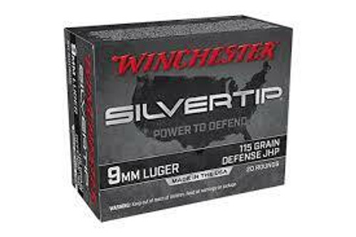 Winchester Silver Tip Ammunition - 9 MM - 115 Grain Silver Tip Hollow Point - 20 Rounds - Brass Case