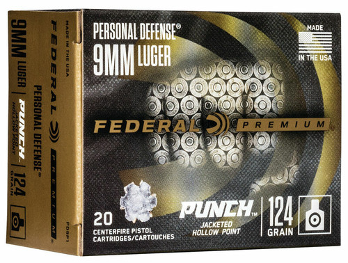 Federal Premium Ammunition - 9 MM Luger - 124 Grain Jacketed Hollow Point - 20 Rounds - Nickel Plated Brass Case