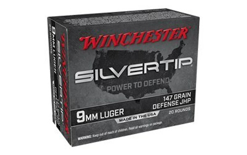 Winchester Silver Tip Ammunition - 9 MM Luger - 147 Grain Silver Tip Hollow Point - 20 Rounds - Brass Case