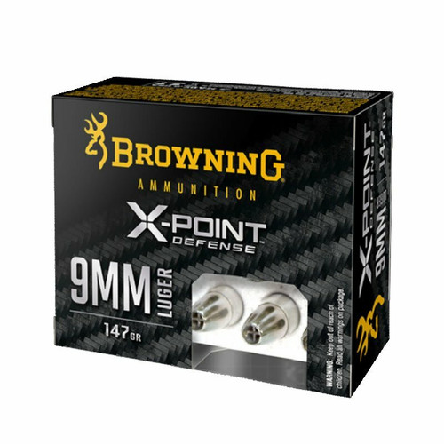 Browning X-Point Ammunition - 9 MM Luger - 147 Grain X-Point Hollow Point - 20 Rounds - Nickel Plated Brass Case