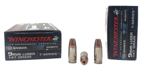 Winchester Ranger Ammunition -  9 MM Luger - 147 Grain T-Series Hollow Point - 50 Rounds - Nickel Plated Case