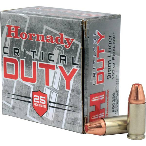 Hornady Critical Duty Ammunition - 9 MM Luger - 135 Grain Flexlock - 25 Rounds - Nickel Plated Brass