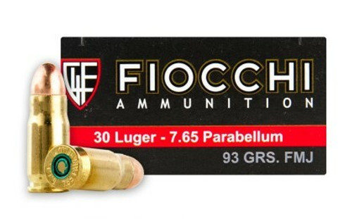 Fiocchi Ammunition - 30 Luger/7.65 Parabellum - 93 Grain Full Metal Jacket - 50 Rounds - Brass Case