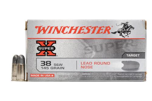 Winchester Super-X Ammunition - 38 S&W - 145 Grain Lead Round Nose - 50 Rounds - Brass Case