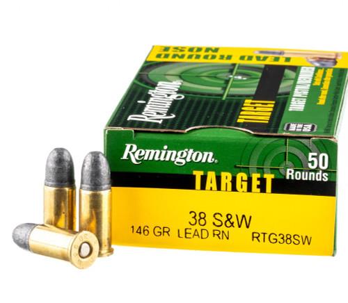 Remington Wheel Gun Ammunition - 38 S&W - 146 Grain Lead Round Nose - 50 Rounds - Brass Case
